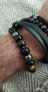 Bracelet Oeil de Tigre Hématite et Obsidienne Triple Protection photo review
